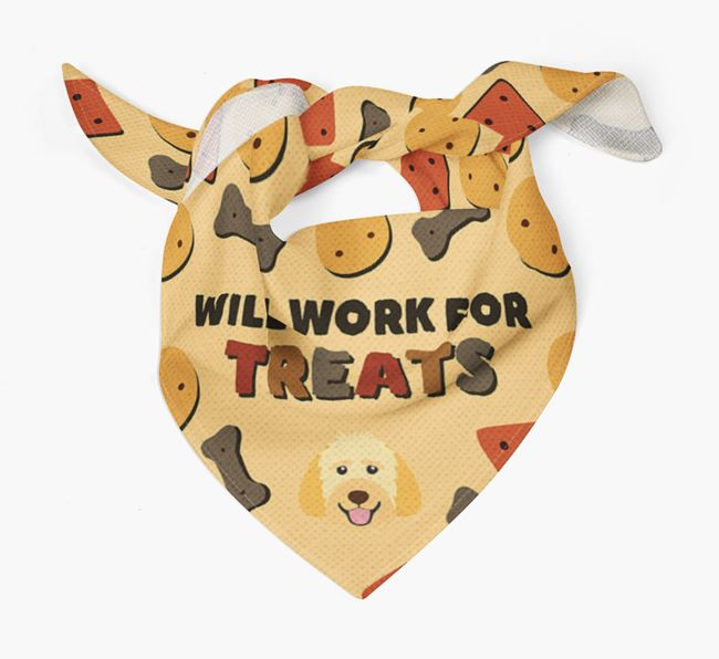 'Work For Treats' Bandana with Goldendoodle Icon