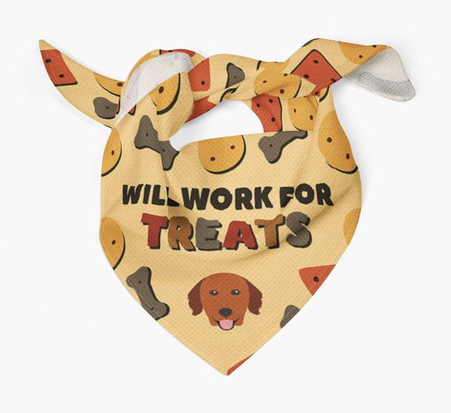 'Work For Treats' Bandana with Golden Retriever Icon