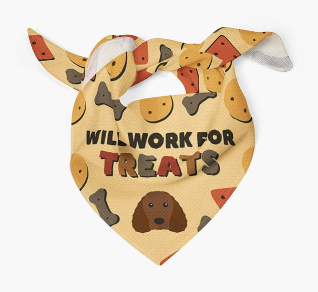 'Work For Treats' Bandana with Irish Water Spaniel Icon