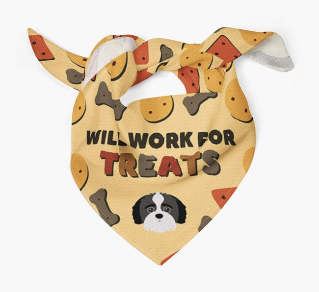 'Work For Treats' Bandana with Jack-A-Poo Icon