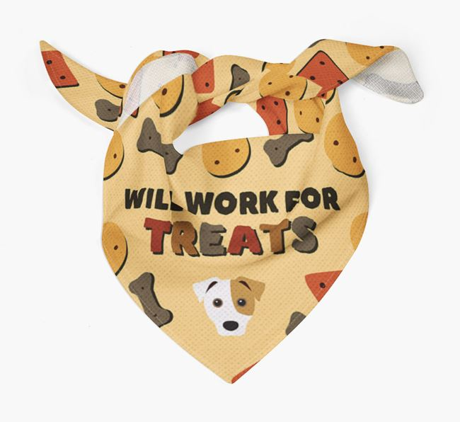 'Work For Treats' Bandana with Jack Russell Terrier Icon