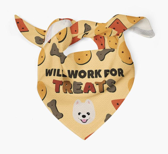 'Work For Treats' Bandana with Pomeranian Icon