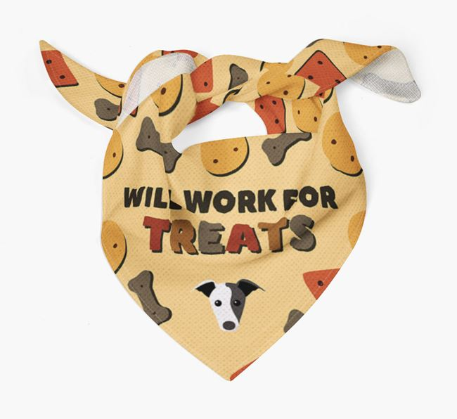 'Work For Treats' Bandana with Whippet Icon