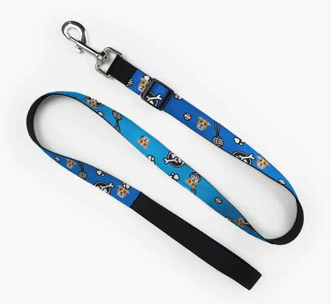 Fabric Lead with Dog Pattern and American Bulldog Icon