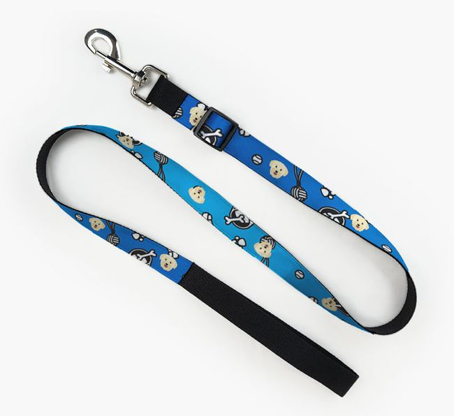 Fabric Lead with Dog Pattern and Bichon Yorkie Icon