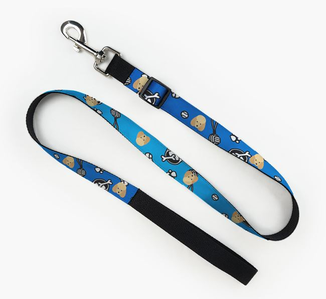 Fabric Lead with Dog Pattern and Miniature Poodle Icon