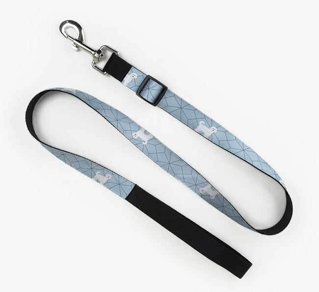 Fabric Lead with Geometric Pattern and Cavapoochon Icon