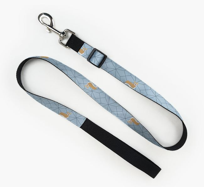 Fabric Lead with Geometric Pattern and Pembroke Welsh Corgi Icon