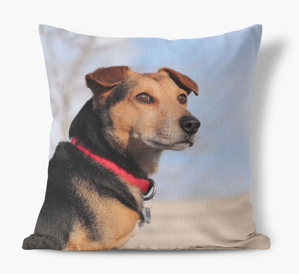 Photo Upload Canvas Cushion front view featuring your dog