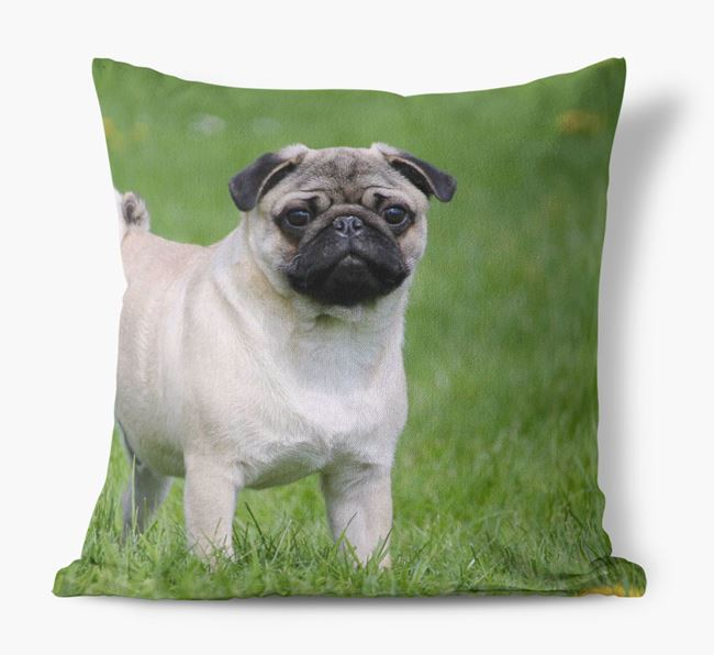 Photo upload canvas cushion featuring your dog
