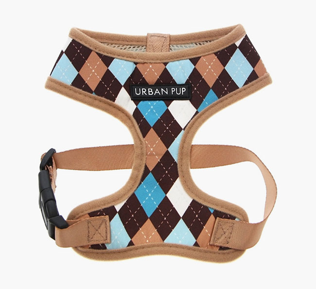 Urban Pup Brown & Blue Argyle Harness