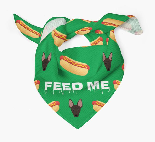 'Feed Me' Hotdogs Bandana with American Hairless Terrier Icons