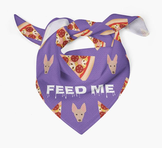 'Feed Me' Pizza Bandana with American Hairless Terrier Icons