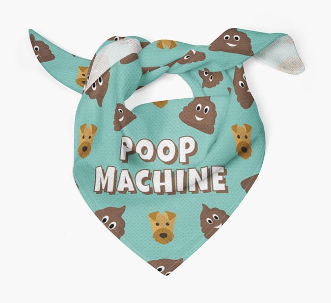 'Poop Machine' Bandana with Airedale Terrier Icons