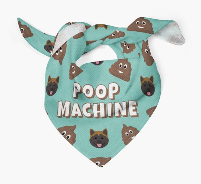 'Poop Machine' Bandana with Akita Icons