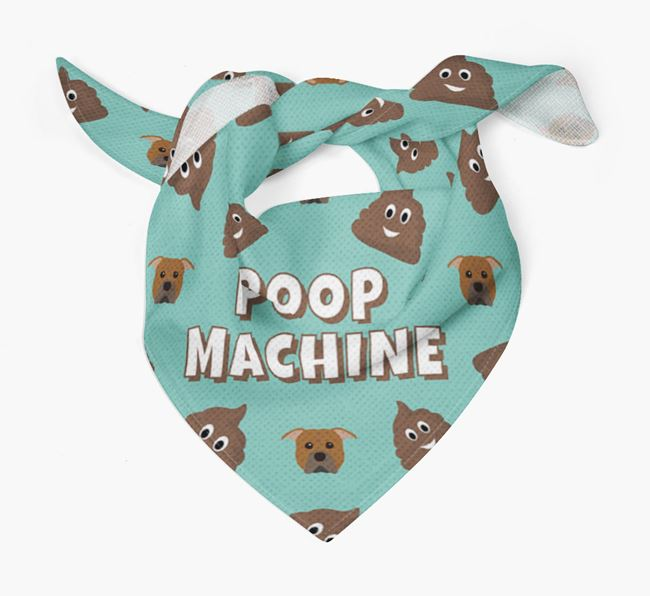 'Poop Machine' Bandana with American Pit Bull Terrier Icons