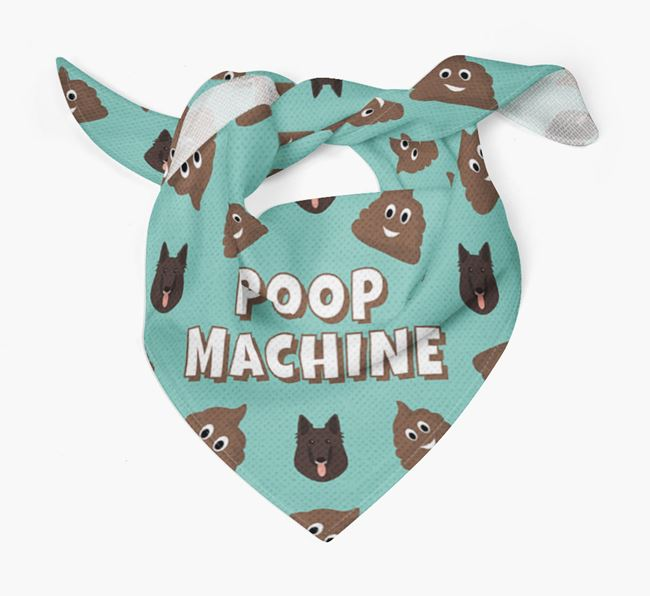 'Poop Machine' Bandana with Belgian Groenendael Icons