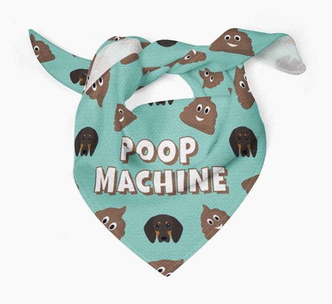 'Poop Machine' Bandana with Black and Tan Coonhound Icons