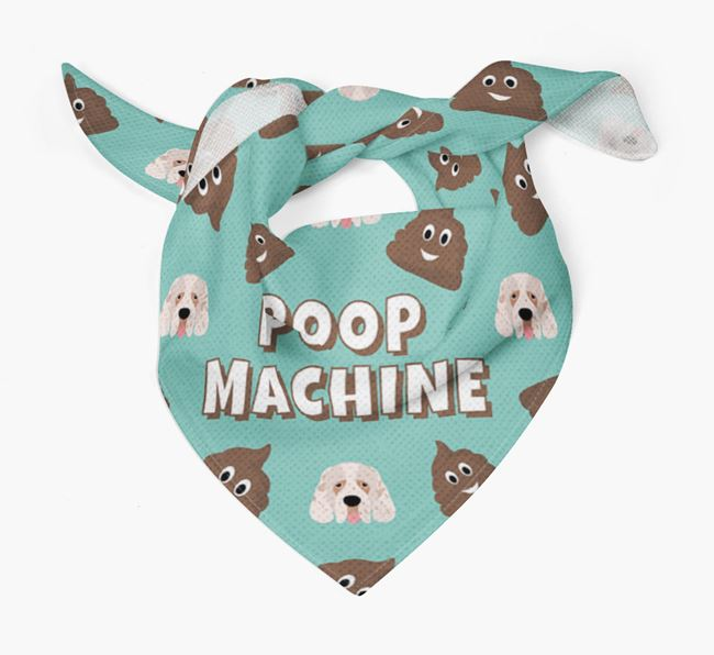 'Poop Machine' Bandana with Clumber Spaniel Icons