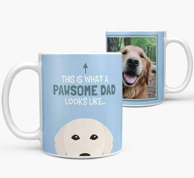 Personalised 'This is what a pawsome dad looks like...' Mug