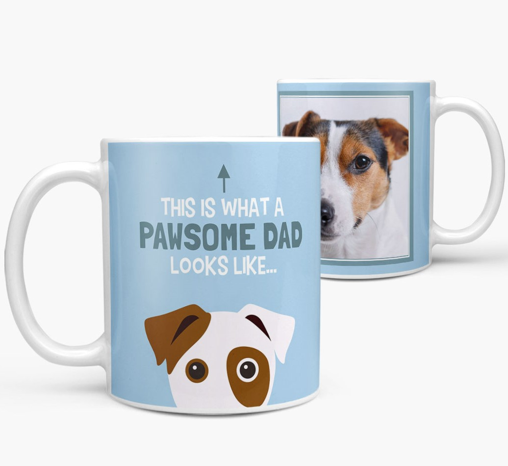 Personalized 'This is what a pawsome dad looks like...' Mug Side View