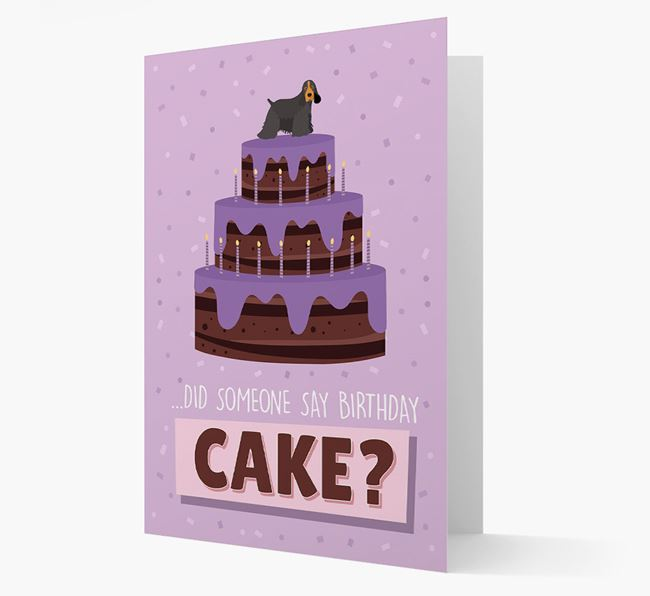 'Did Someone Say Birthday Cake?' Card with American Cocker Spaniel Icon
