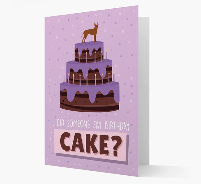 'Did Someone Say Birthday Cake?' Card with American Hairless Terrier Icon