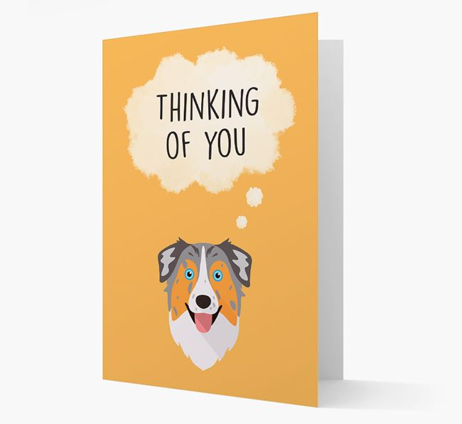 'Thinking of You' Card with Australian Shepherd Icon