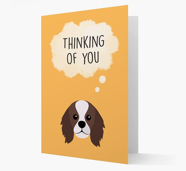 'Thinking of You' Card with King Charles Spaniel Icon