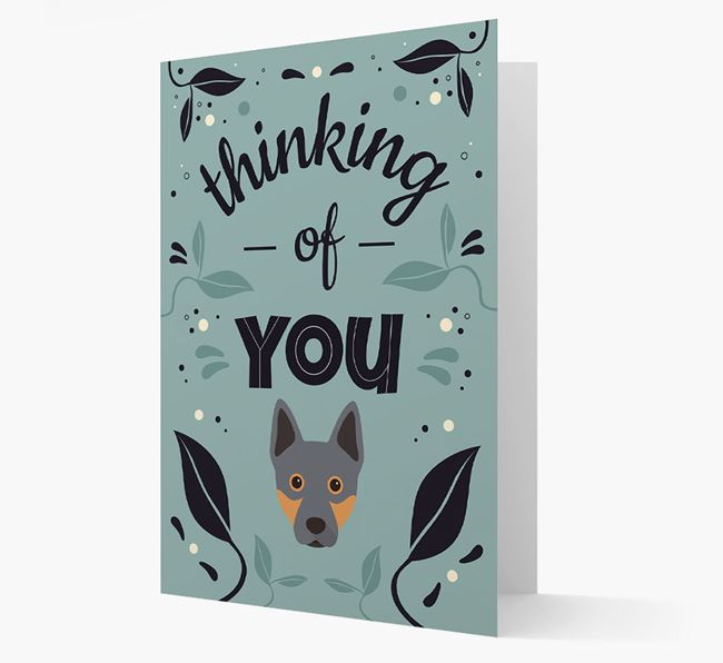 'Thinking of You' Floral Card with Australian Cattle Dog Icon