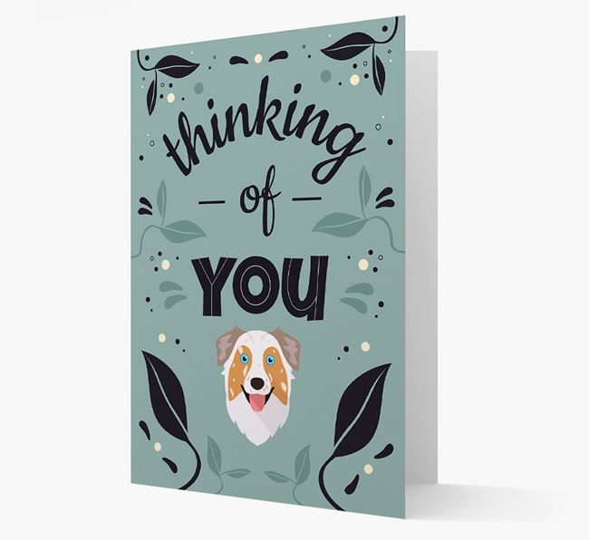 'Thinking of You' Floral Card with Australian Shepherd Icon