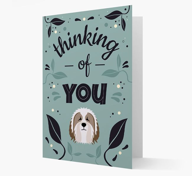 'Thinking of You' Floral Card with Bearded Collie Icon