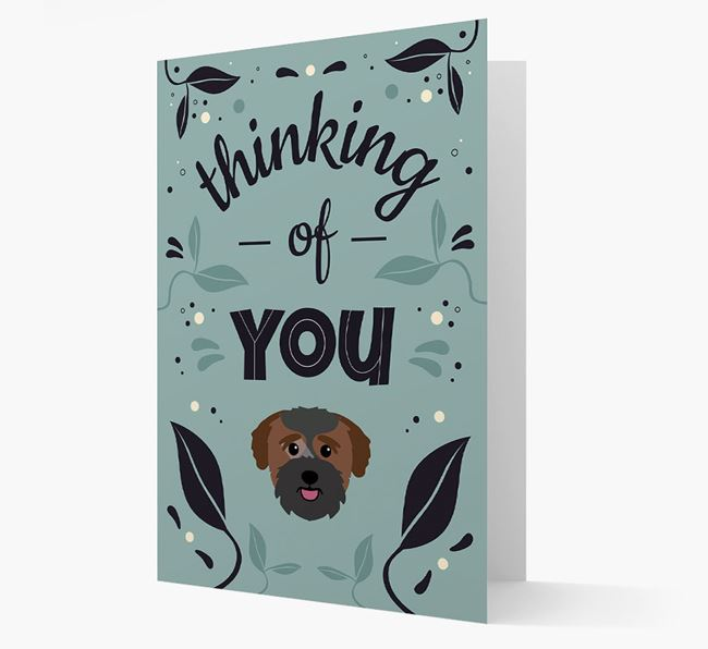 'Thinking of You' Floral Card with Bichon Yorkie Icon