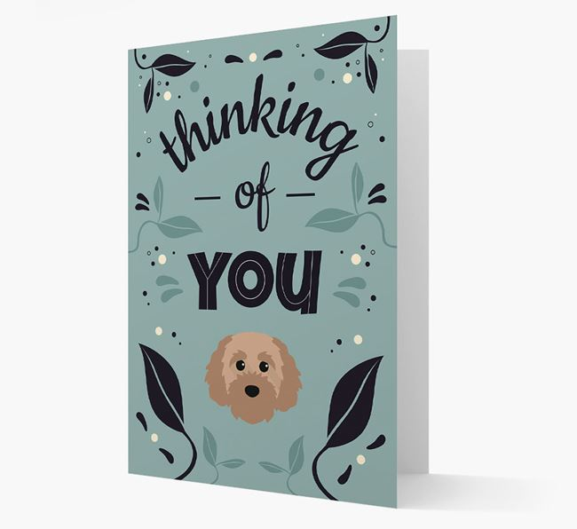 'Thinking of You' Floral Card with Cavapoochon Icon