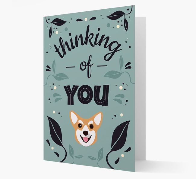 'Thinking of You' Floral Card with Corgi Icon