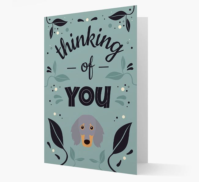 'Thinking of You' Floral Card with Dachshund Icon