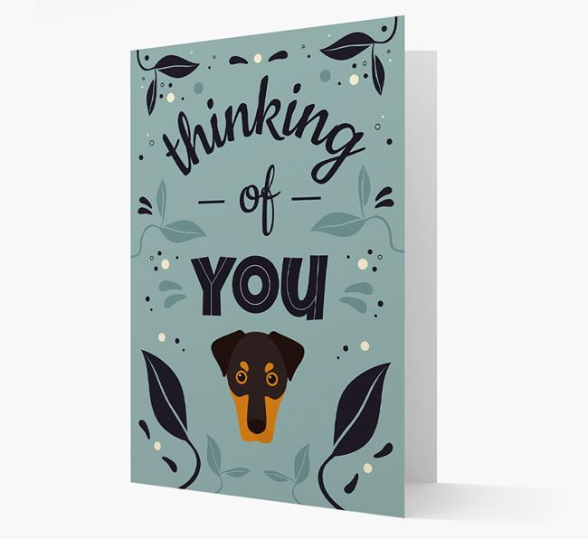 'Thinking of You' Floral Card with Dobermann Icon