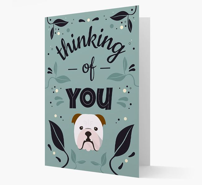 'Thinking of You' Floral Card with English Bulldog Icon