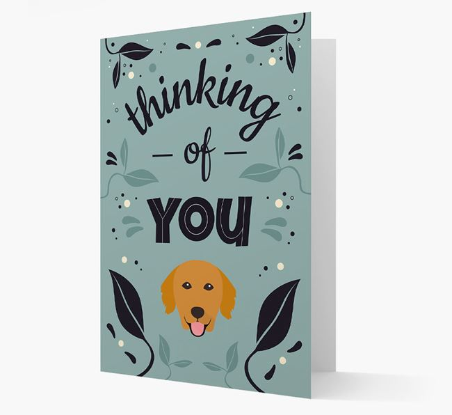 'Thinking of You' Floral Card with Golden Retriever Icon