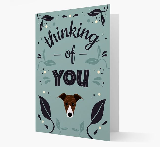 'Thinking of You' Floral Card with Greyhound Icon