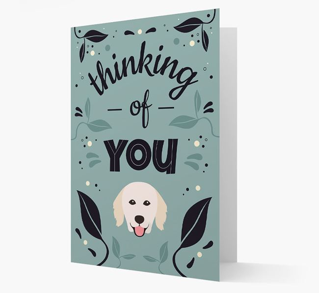 'Thinking of You' Floral Card with Hungarian Kuvasz Icon