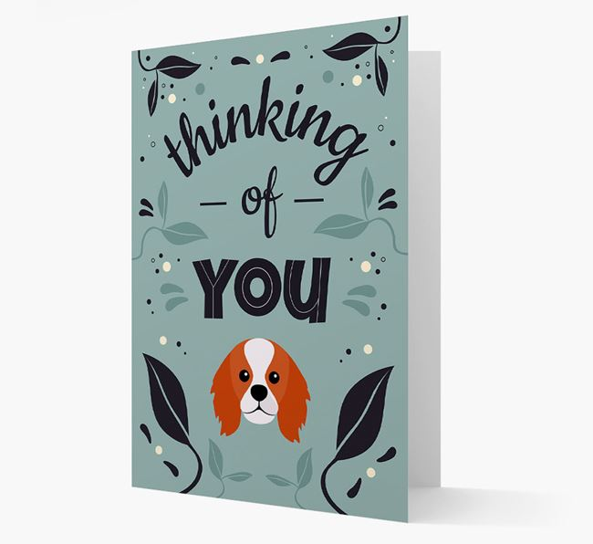 'Thinking of You' Floral Card with King Charles Spaniel Icon