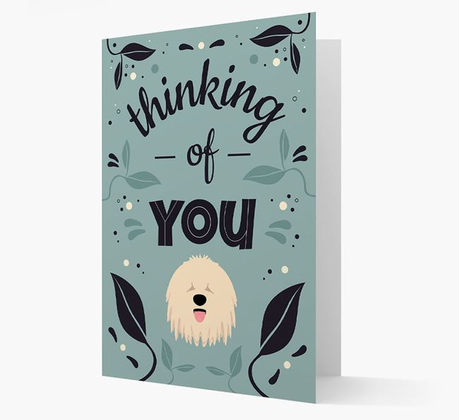 'Thinking of You' Floral Card with Komondor Icon