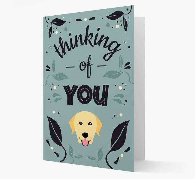 'Thinking of You' Floral Card with Labrador Retriever Icon