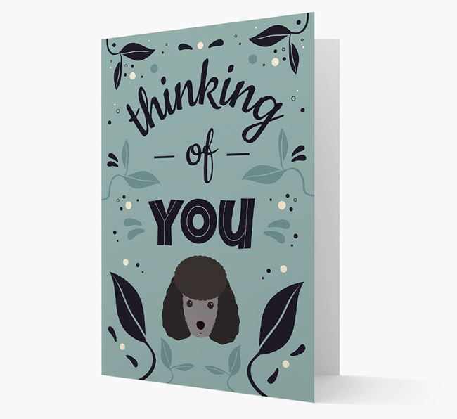 'Thinking of You' Floral Card with Miniature Poodle Icon
