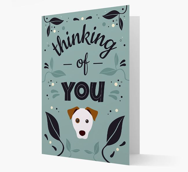 'Thinking of You' Floral Card with Parson Russell Terrier Icon