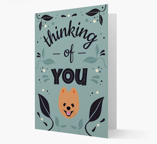 'Thinking of You' Floral Card with Pomeranian Icon