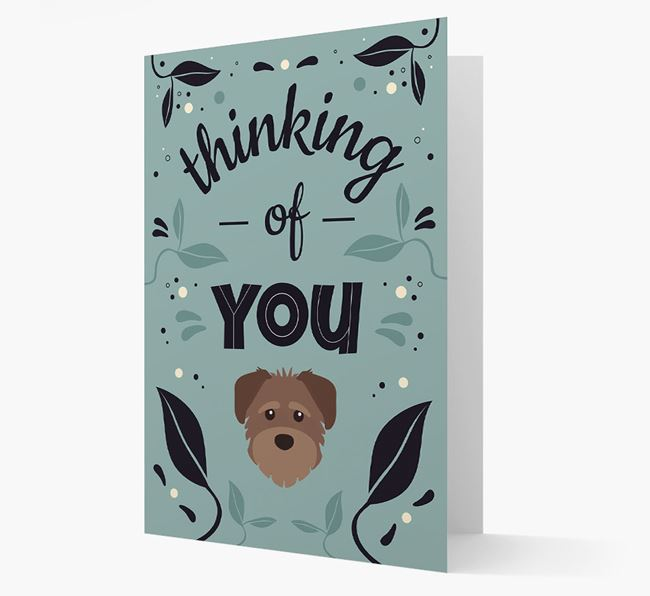 'Thinking of You' Floral Card with Schnoodle Icon