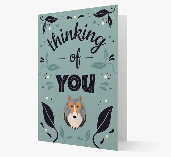 'Thinking of You' Floral Card with Shetland Sheepdog Icon