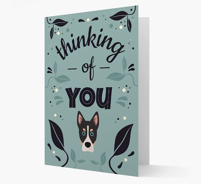 'Thinking of You' Floral Card with Siberian Cocker Icon